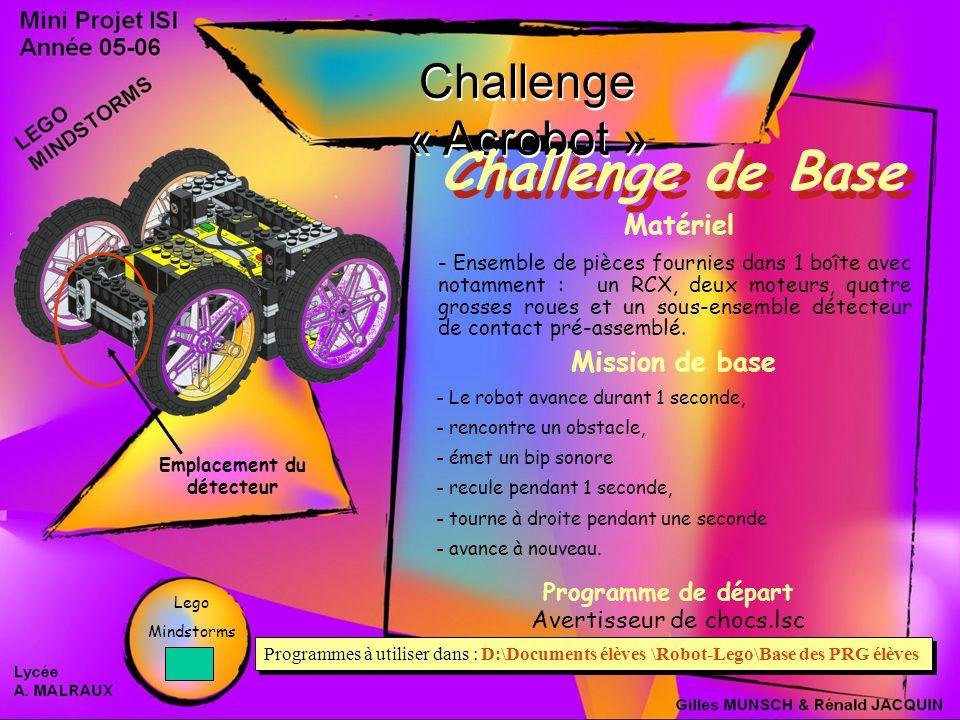 Challenge « Acrobot » Challenge de Base Mission de base - Le robot avance durant 1 seconde, - rencontre un obstacle, - émet un bip sonore - recule pendant 1 seconde, - tourne à droite pendant une seconde - avance à nouveau.