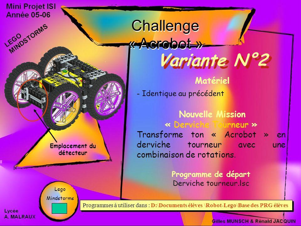Challenge « Acrobot » Variante N°2 Matériel - Identique au précédent Nouvelle Mission « Derviche Tourneur » Transforme ton « Acrobot » en derviche tourneur avec une combinaison de rotations.