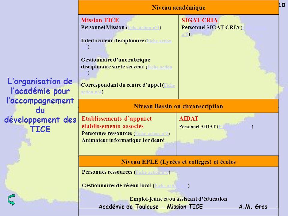 A.M. Gros Académie de Toulouse - Mission TICE 10 Niveau académique Mission TICE Personnel Mission (fiche action n°1)fiche action n°1 Interlocuteur dis