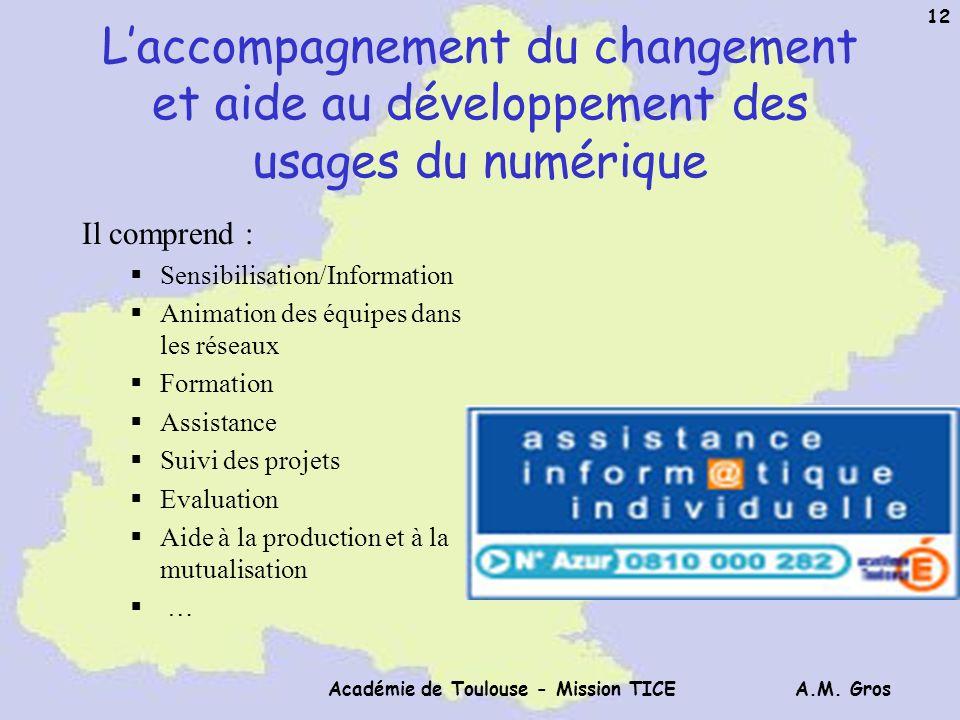 A.M. Gros Académie de Toulouse - Mission TICE 12 Laccompagnement du changement et aide au développement des usages du numérique Il comprend : Sensibil