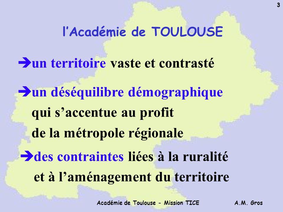 A.M. Gros Académie de Toulouse - Mission TICE 3 è un territoire vaste et contrasté è un déséquilibre démographique qui saccentue au profit de la métro