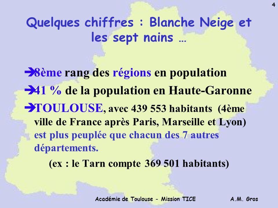 A.M. Gros Académie de Toulouse - Mission TICE 4 Quelques chiffres : Blanche Neige et les sept nains … è8ème rang des régions en population è41 % de la