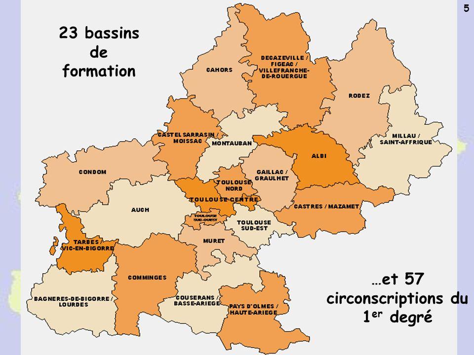 A.M. Gros Académie de Toulouse - Mission TICE 5 23 bassins de formation …et 57 circonscriptions du 1 er degré
