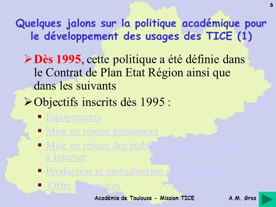 A.M. Gros Académie de Toulouse - Mission TICE 6 Quelques jalons sur la politique académique pour le développement des usages des TICE (1) Dès 1995, ce