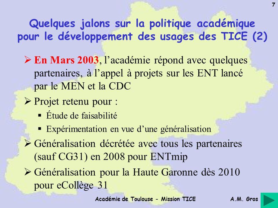 A.M. Gros Académie de Toulouse - Mission TICE 7 Quelques jalons sur la politique académique pour le développement des usages des TICE (2) En Mars 2003