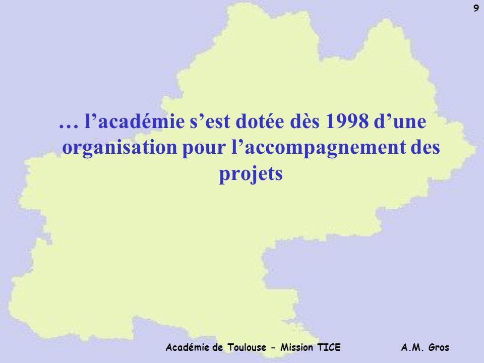 A.M. Gros Académie de Toulouse - Mission TICE 9 … lacadémie sest dotée dès 1998 dune organisation pour laccompagnement des projets