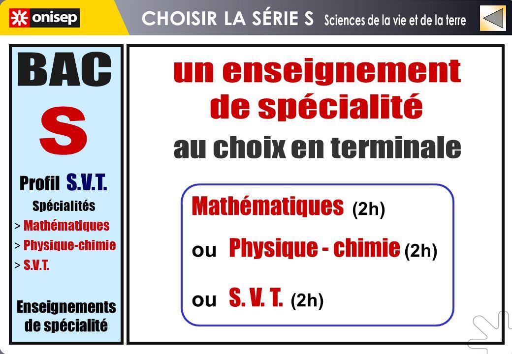 Mathématiques (2h) ou Physique - chimie (2h) ou S. V. T. (2h) Profil S.V.T. Spécialités > Mathématiques > Physique-chimie > S.V.T. Enseignements de sp