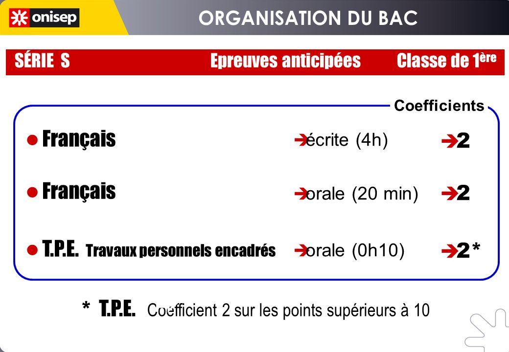 SÉRIE S Epreuves anticipées Classe de 1 ère * T.P.E. Coefficient 2 sur les points supérieurs à 10 Français T.P.E. Travaux personnels encadrés écrite (