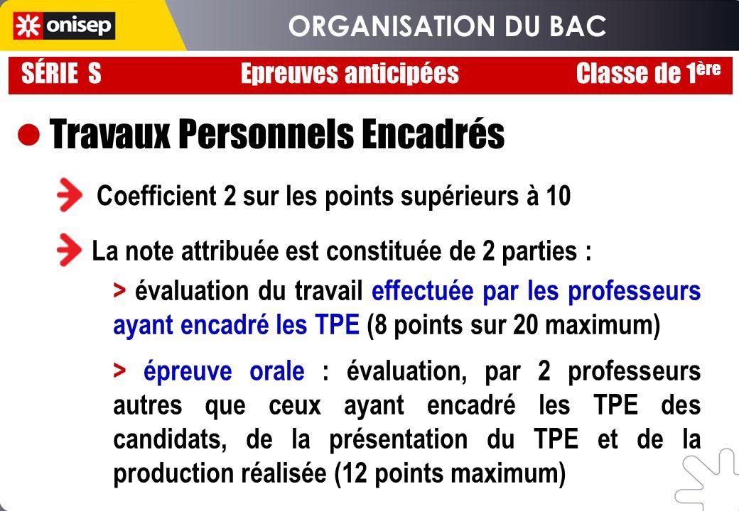 Travaux Personnels Encadrés Coefficient 2 sur les points supérieurs à 10 La note attribuée est constituée de 2 parties : > évaluation du travail effec