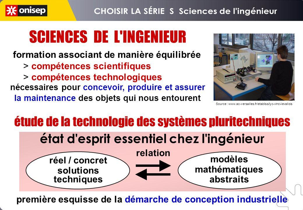 SCIENCES DE L'INGENIEUR formation associant de manière équilibrée > compétences scientifiques > compétences technologiques étude de la technologie des
