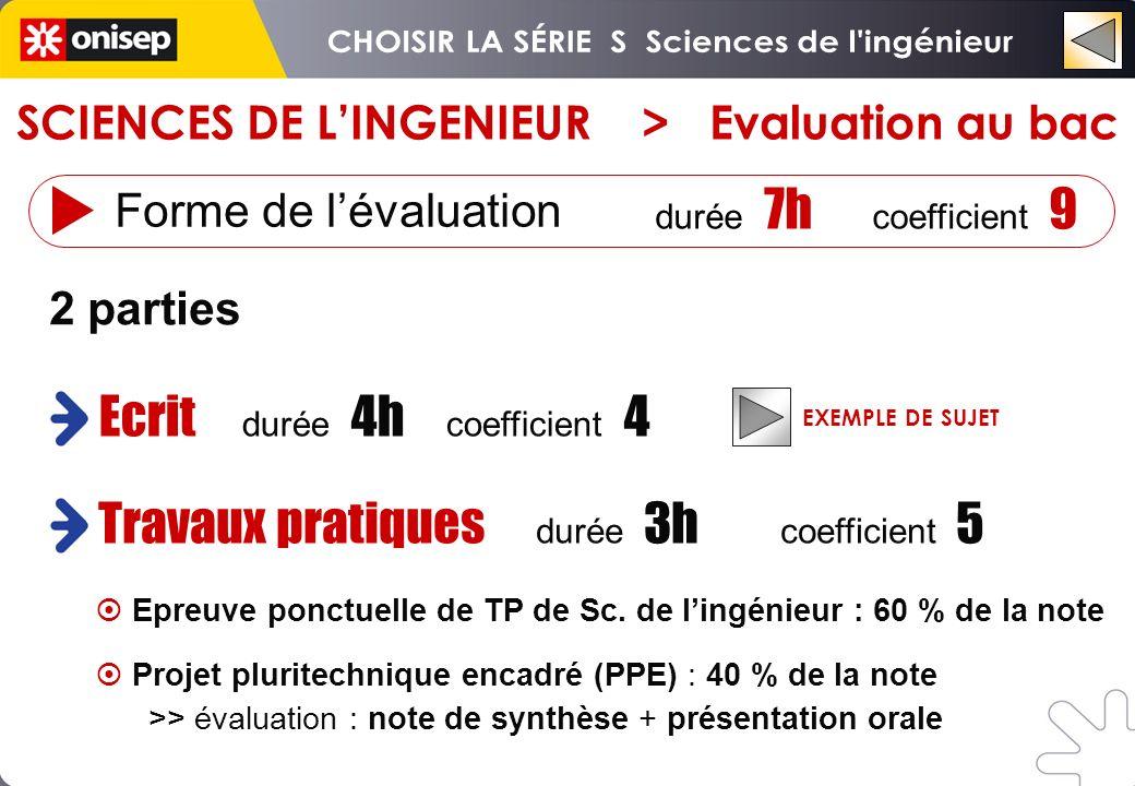 Ecrit durée 4h coefficient 4 Travaux pratiques durée 3h coefficient 5 2 parties Forme de lévaluation durée 7h coefficient 9 EXEMPLE DE SUJET SCIENCES