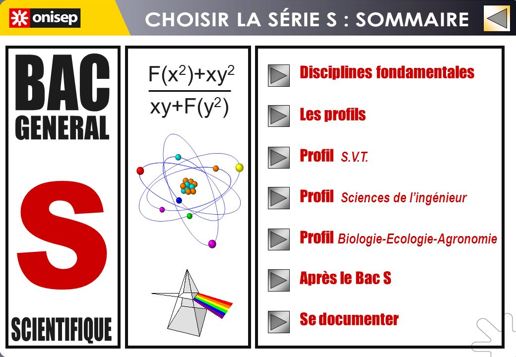 F(x 2 )+xy 2 xy+F(y 2 ) Disciplines fondamentales Les profils Profil S.V.T. Profil Sciences de lingénieur Profil Biologie-Ecologie-Agronomie Après le
