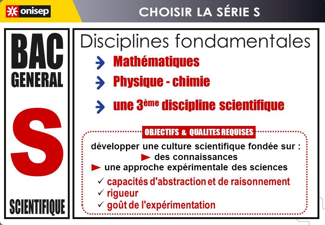 Disciplines fondamentales capacités d'abstraction et de raisonnement rigueur goût de l'expérimentation Mathématiques Physique - chimie une 3 ème disci