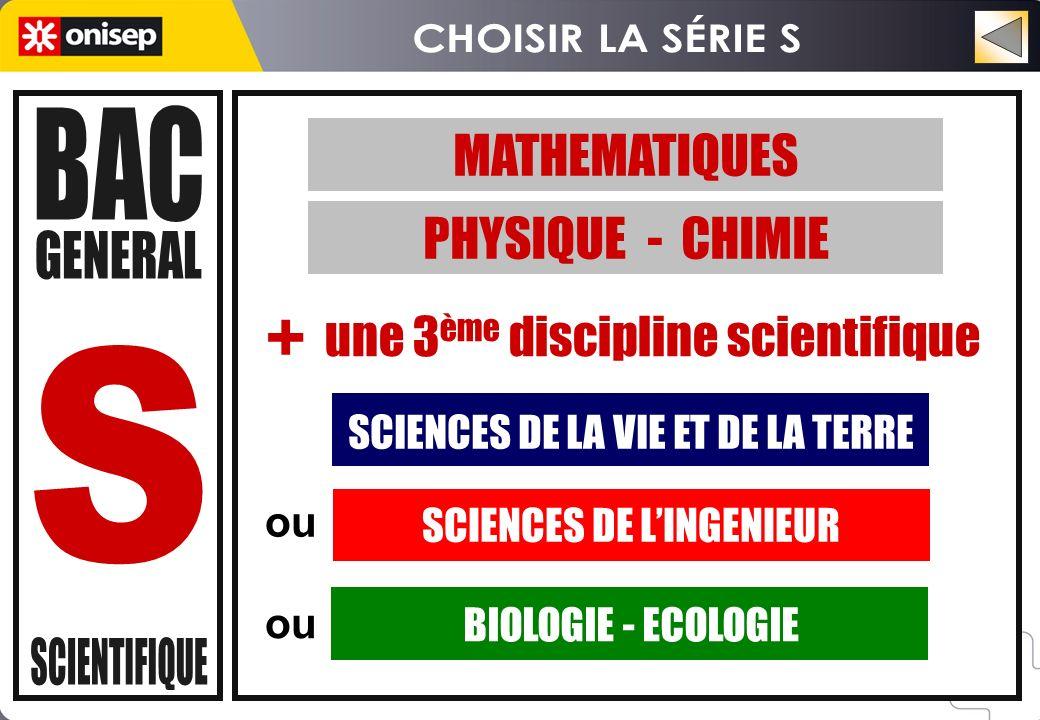 ou MATHEMATIQUES PHYSIQUE - CHIMIE SCIENCES DE LA VIE ET DE LA TERRE SCIENCES DE LINGENIEUR BIOLOGIE - ECOLOGIE une 3 ème discipline scientifique +