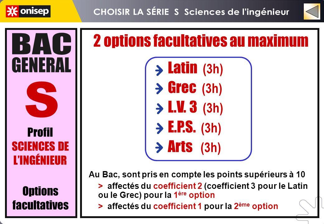 Latin (3h) Grec (3h) L.V. 3 (3h) E.P.S. (3h) Arts (3h) Au Bac, sont pris en compte les points supérieurs à 10 > affectés du coefficient 2 (coefficient