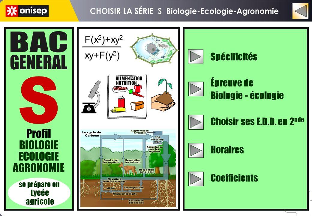 Profil BIOLOGIE ECOLOGIE AGRONOMIE se prépare en Lycée agricole Spécificités Épreuve de Biologie - écologie Choisir ses E.D.D. en 2 nde Horaires Coeff