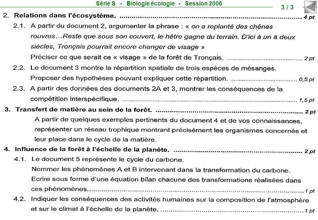 Série S - Biologie écologie - Session 2006 3 / 3