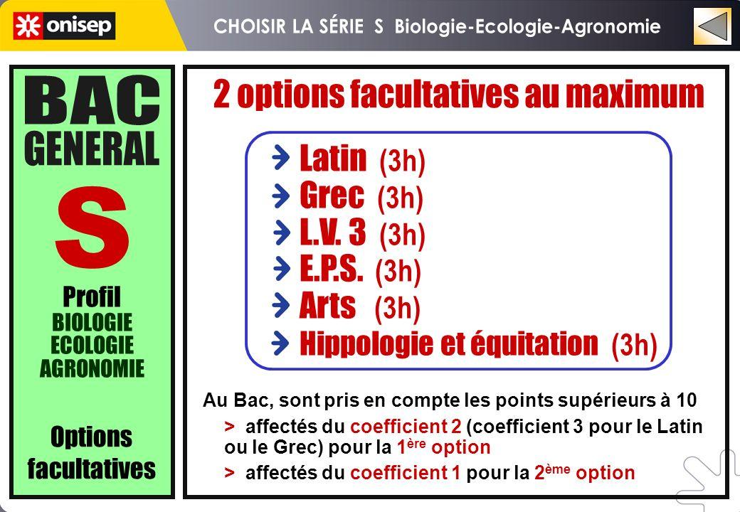 Profil BIOLOGIE ECOLOGIE AGRONOMIE Au Bac, sont pris en compte les points supérieurs à 10 > affectés du coefficient 2 (coefficient 3 pour le Latin ou