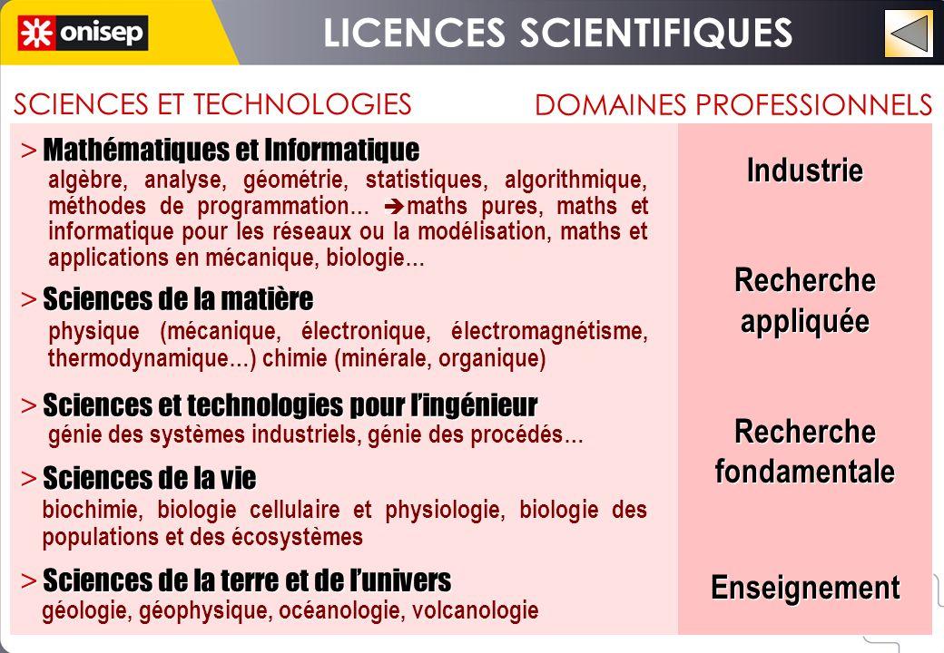 SCIENCES ET TECHNOLOGIES DOMAINES PROFESSIONNELS > Mathématiques et Informatique Industrie Recherche appliquée Recherche fondamentale Enseignement Ind