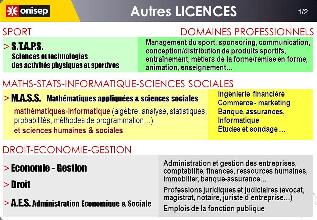DOMAINES PROFESSIONNELS > M.A.S.S. Mathématiques appliquées & sciences sociales Ingénierie financière Commerce - marketing Banque, assurances, Informa