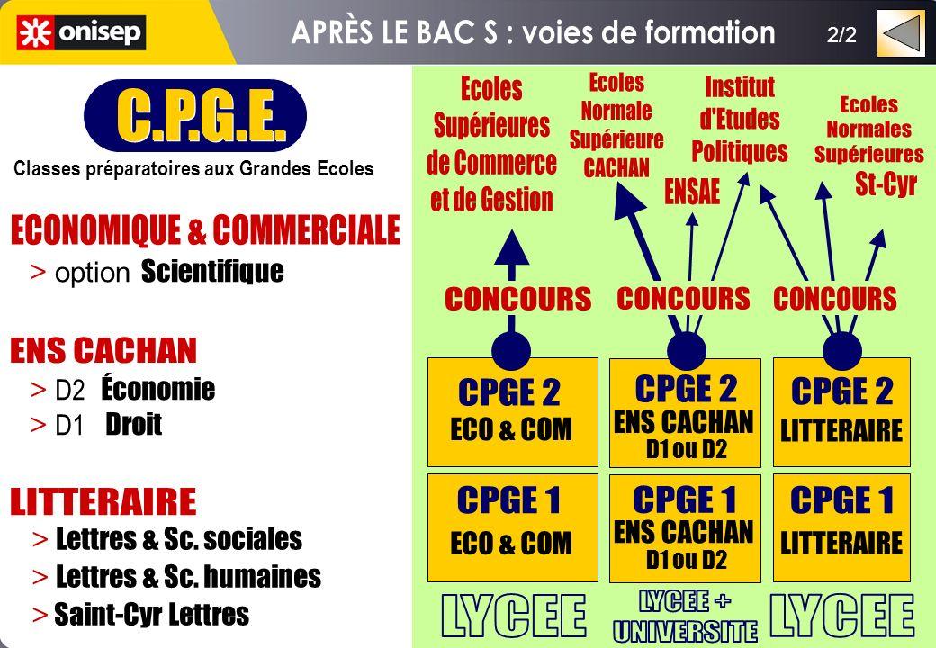 2/2 C.P.G.E. Classes préparatoires aux Grandes Ecoles C.P.G.E. Classes préparatoires aux Grandes Ecoles LITTERAIRE ENS CACHAN D1 ou D2 ENS CACHAN D1 o