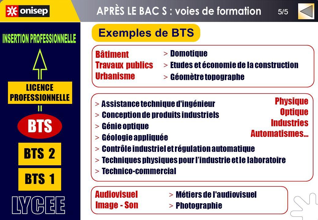 BTS 1 BTS 2 BTS LICENCE PROFESSIONNELLE 5/5 Exemples de BTS Bâtiment Travaux publics Urbanisme > Domotique > Etudes et économie de la construction > G