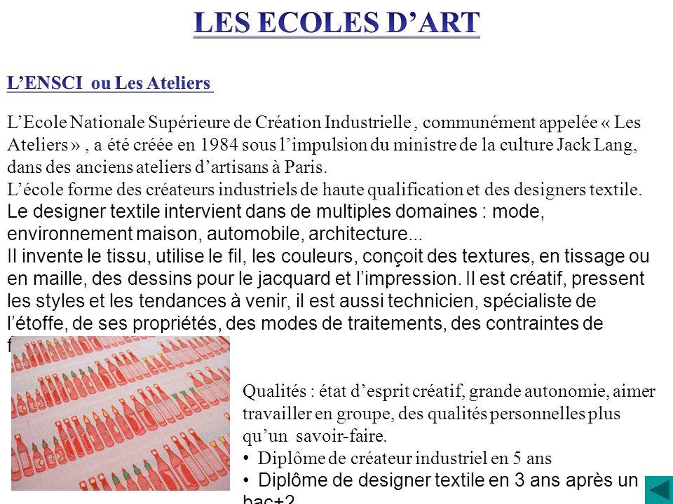 LEcole Nationale Supérieure de Création Industrielle, communément appelée « Les Ateliers », a été créée en 1984 sous limpulsion du ministre de la cult
