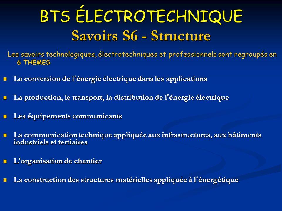 BTS ÉLECTROTECHNIQUE Savoirs S6 - Structure Les savoirs technologiques, électrotechniques et professionnels sont regroupés en Les savoirs technologiqu