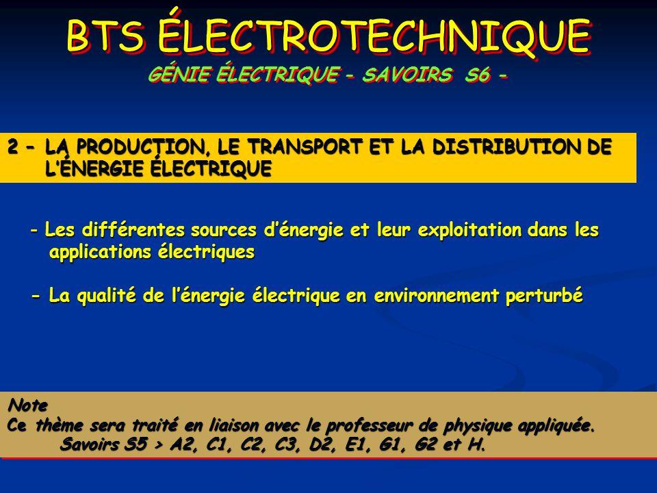 BTS ÉLECTROTECHNIQUE GÉNIE ÉLECTRIQUE - SAVOIRS S6 - - Les différentes sources dénergie et leur exploitation dans les applications électriques - La qu