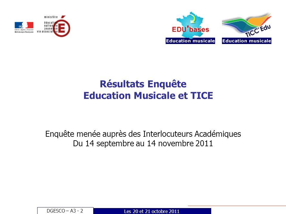 DGESCO – A3 - 2 Les 20 et 21 octobre 2011 Résultats Enquête Education Musicale et TICE Enquête menée auprès des Interlocuteurs Académiques Du 14 septembre au 14 novembre 2011