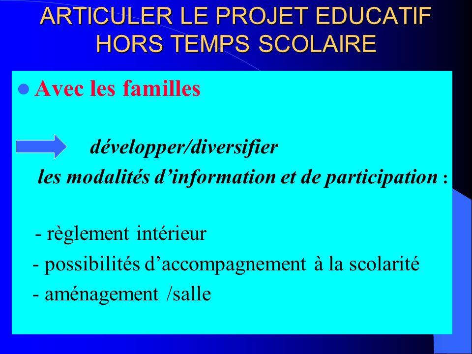 ARTICULER LE PROJET EDUCATIF HORS TEMPS SCOLAIRE Avec les familles développer/diversifier les modalités dinformation et de participation : - règlement intérieur - possibilités daccompagnement à la scolarité - aménagement /salle