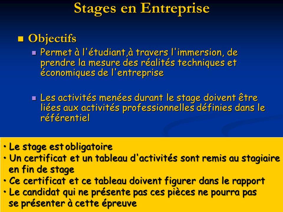 Stages en Entreprise Objectifs Objectifs Permet à l'étudiant,à travers l'immersion, de prendre la mesure des réalités techniques et économiques de l'e