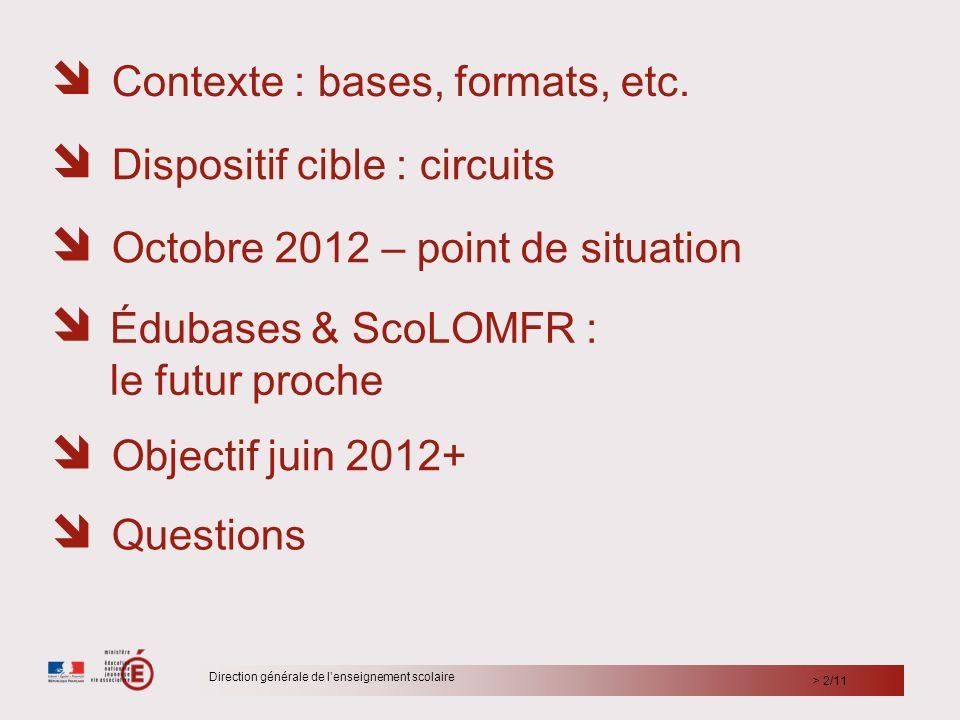 > 2/11 Direction générale de lenseignement scolaire Contexte : bases, formats, etc. Édubases & ScoLOMFR : le futur proche Objectif juin 2012+ Disposit