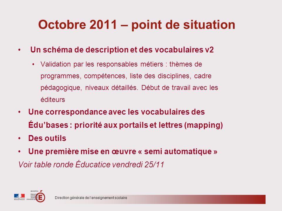 Direction générale de lenseignement scolaire Octobre 2011 – point de situation Un schéma de description et des vocabulaires v2 Validation par les resp