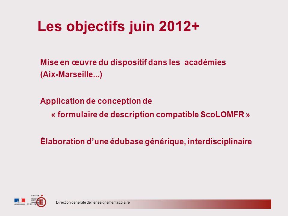 Direction générale de lenseignement scolaire Les objectifs juin 2012+ Mise en œuvre du dispositif dans les académies (Aix-Marseille...) Application de