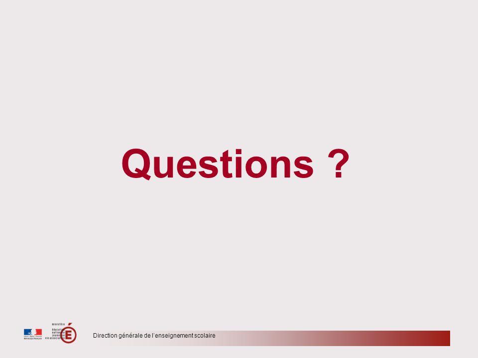 Direction générale de lenseignement scolaire Questions ?
