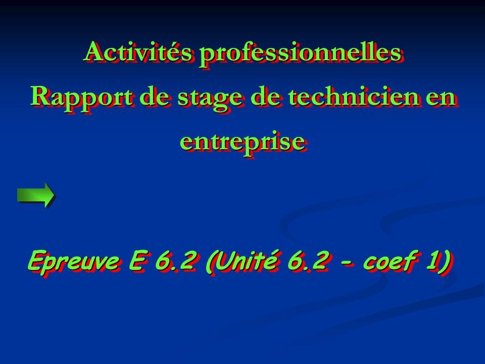 Epreuve E 6.2 (Unité 6.2 - coef 1) Activités professionnelles Rapport de stage de technicien en entreprise