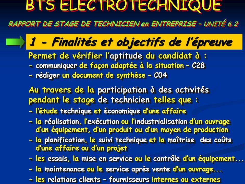 1 - Finalités et objectifs de lépreuve - communiquer de façon adaptée à la situation – C28 - létude technique et économique dune affaire - rédiger un