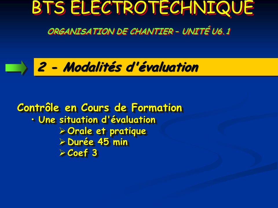 2 - Modalités d'évaluation Contrôle en Cours de Formation Une situation d'évaluation Une situation d'évaluation Orale et pratique Orale et pratique Du