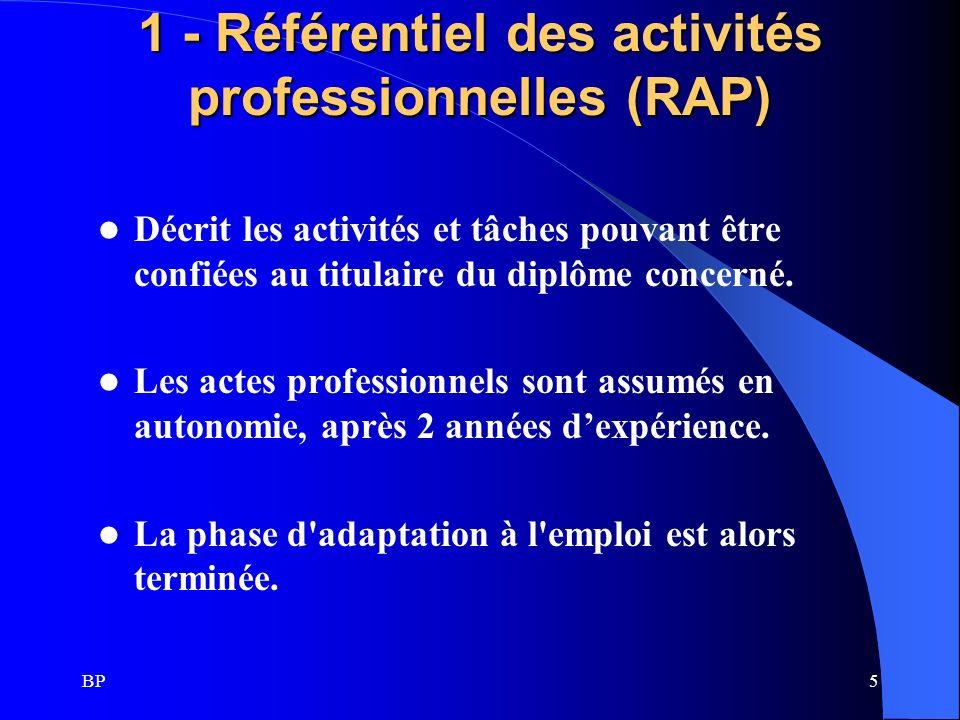 BP6 Elaboration Le référentiel des Activités Professionnelles est réalisé par une commission composée d enseignants et de professionnels représentatifs des deux composantes (installateurs et industriels).