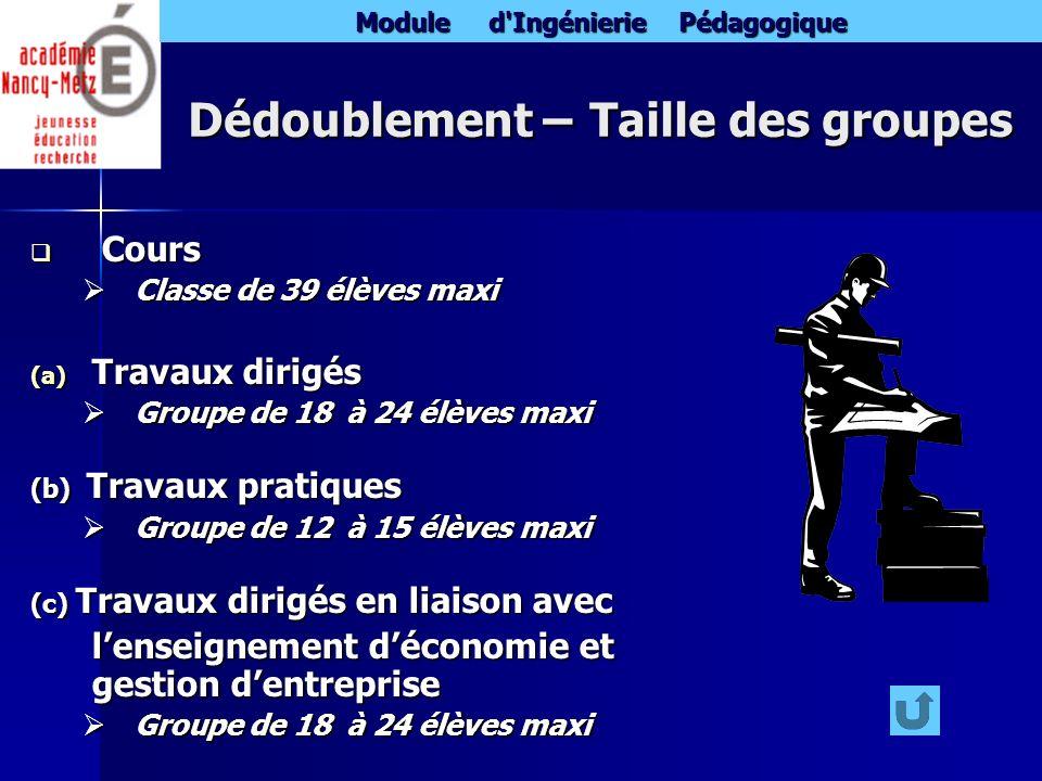 Module d'Ingénierie Pédagogique Dédoublement – Taille des groupes Cours Cours Classe de 39 élèves maxi Classe de 39 élèves maxi (a) Travaux dirigés Gr