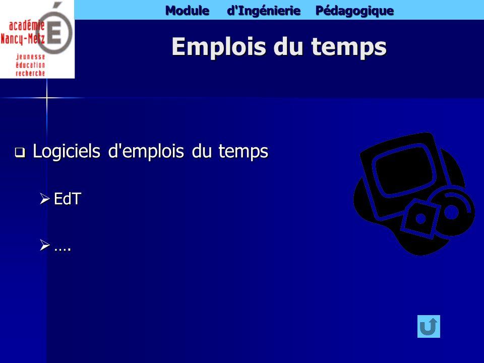 Module d'Ingénierie Pédagogique Emplois du temps Logiciels d'emplois du temps Logiciels d'emplois du temps EdT EdT …. ….