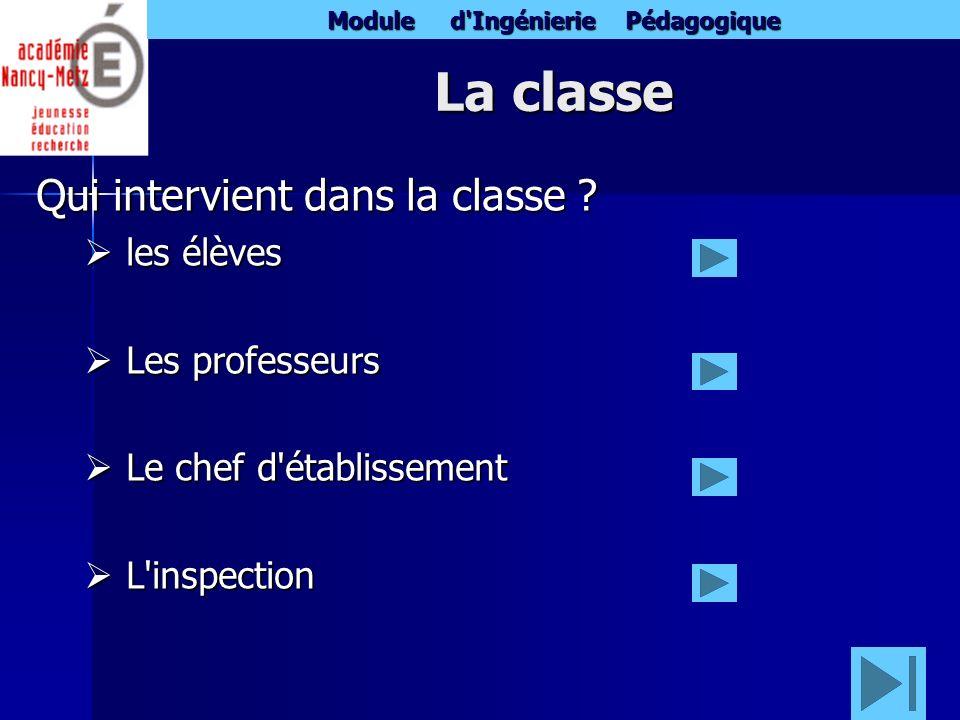 Module d'Ingénierie Pédagogique La classe Qui intervient dans la classe ? les élèves les élèves Les professeurs Les professeurs Le chef d'établissemen