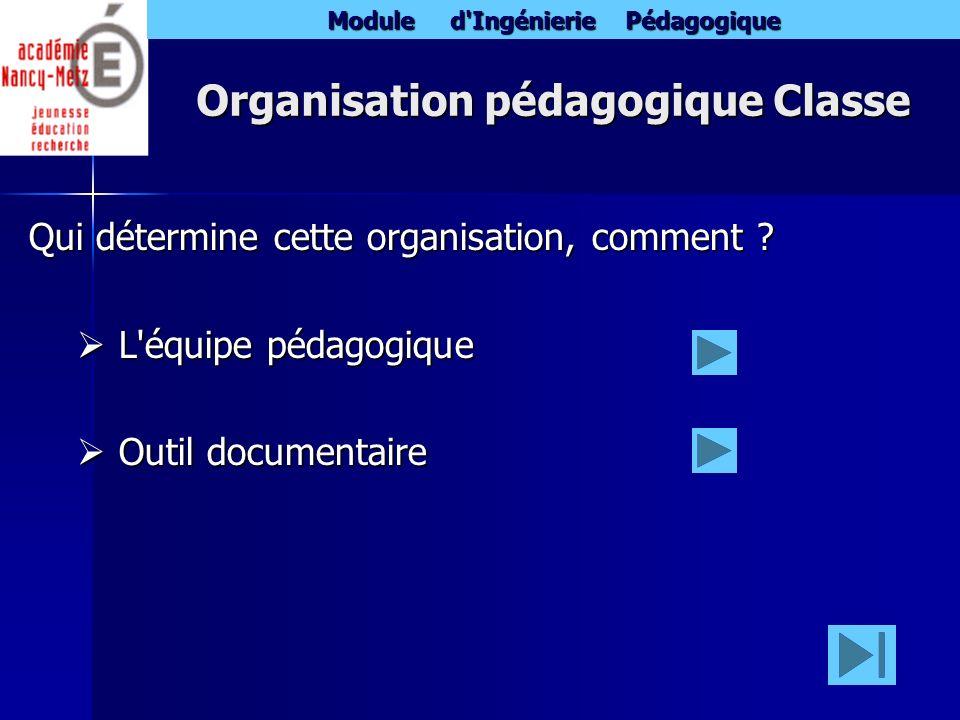 Module d'Ingénierie Pédagogique Organisation pédagogique Classe Qui détermine cette organisation, comment ? L'équipe pédagogique L'équipe pédagogique