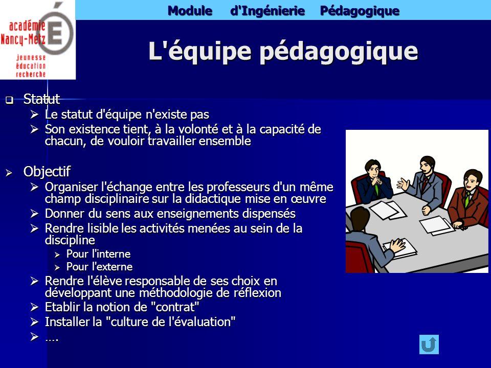Module d'Ingénierie Pédagogique L'équipe pédagogique Statut Statut Le statut d'équipe n'existe pas Le statut d'équipe n'existe pas Son existence tient