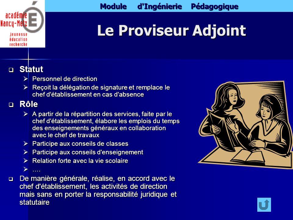 Module d'Ingénierie Pédagogique Le Proviseur Adjoint Statut Statut Personnel de direction Personnel de direction Reçoit la délégation de signature et
