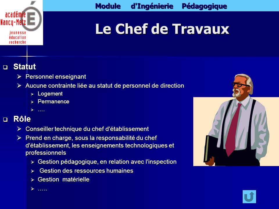 Module d'Ingénierie Pédagogique Le Chef de Travaux Statut Statut Personnel enseignant Personnel enseignant Aucune contrainte liée au statut de personn