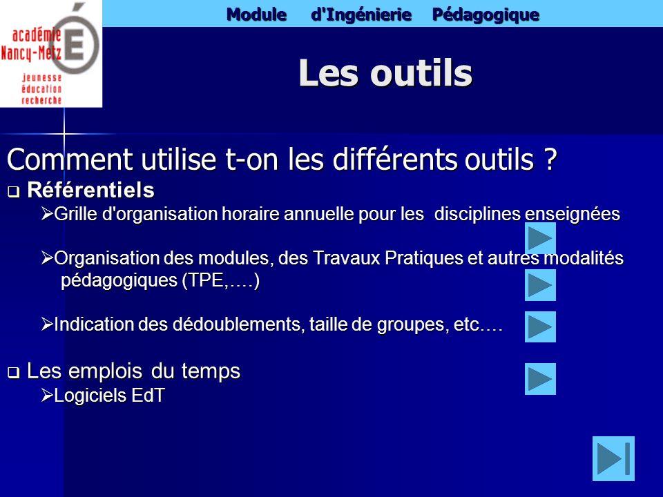 Module d'Ingénierie Pédagogique Les outils Comment utilise t-on les différents outils ? Référentiels Référentiels Grille d'organisation horaire annuel