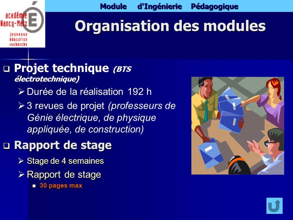 Module d'Ingénierie Pédagogique Organisation des modules Projet technique (BTS électrotechnique) Durée de la réalisation 192 h 3 revues de projet (pro