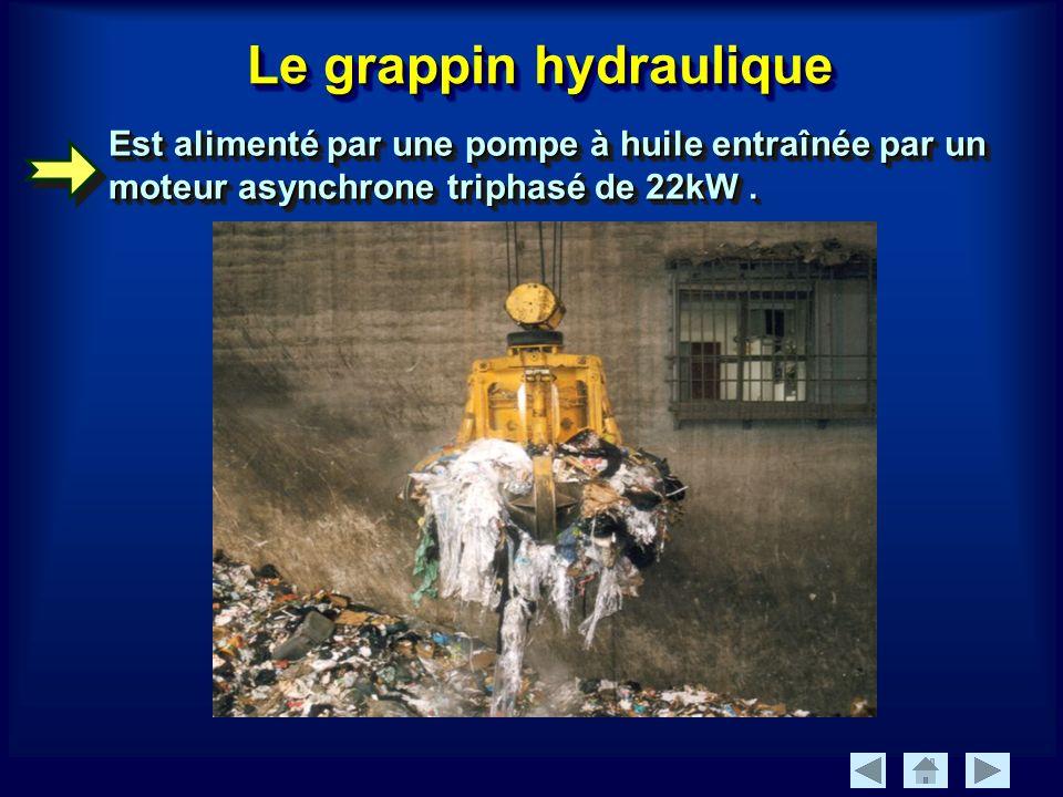 Le grappin hydraulique Est alimenté par une pompe à huile entraînée par un moteur asynchrone triphasé de 22kW.